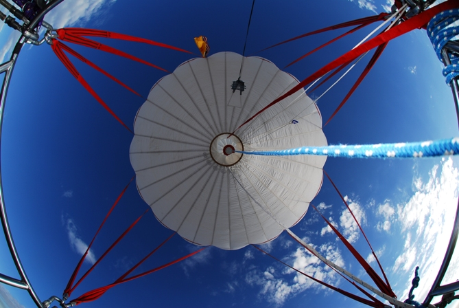 Gas Balloon Above Us: Notice the open appendix - you can see into the balloon, to the valve on the top