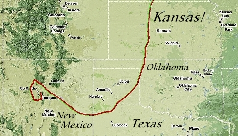 Gas Balloon Race: Map Through Kansas