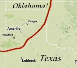 Map: Texas...into Oklahoma!